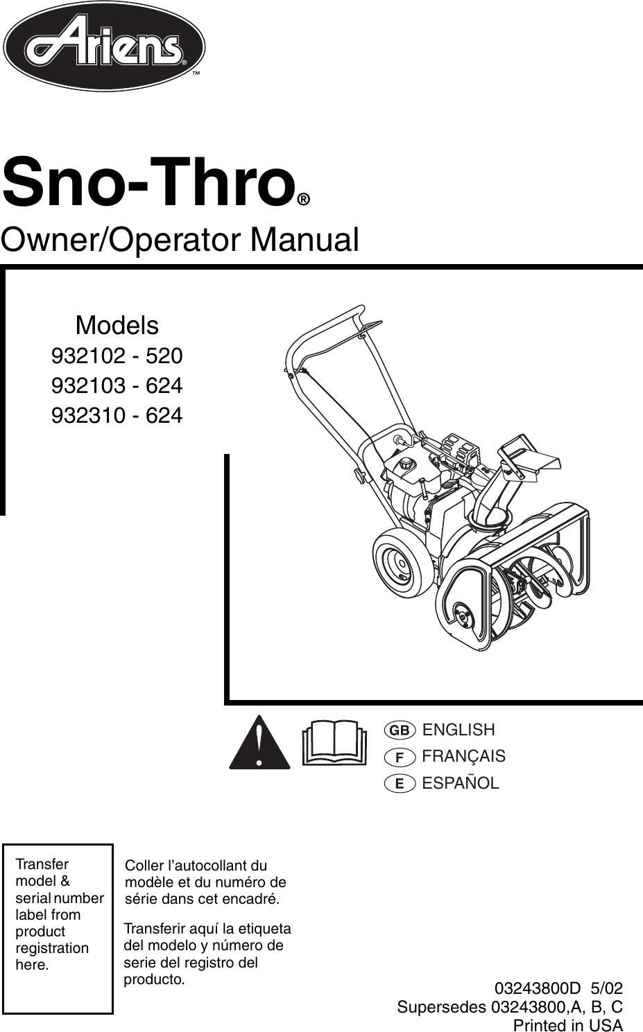 medium resolution of bradhildebrand array ariens sno thro 932102 520 owners manual manualslib makes it easy to rh usermanual