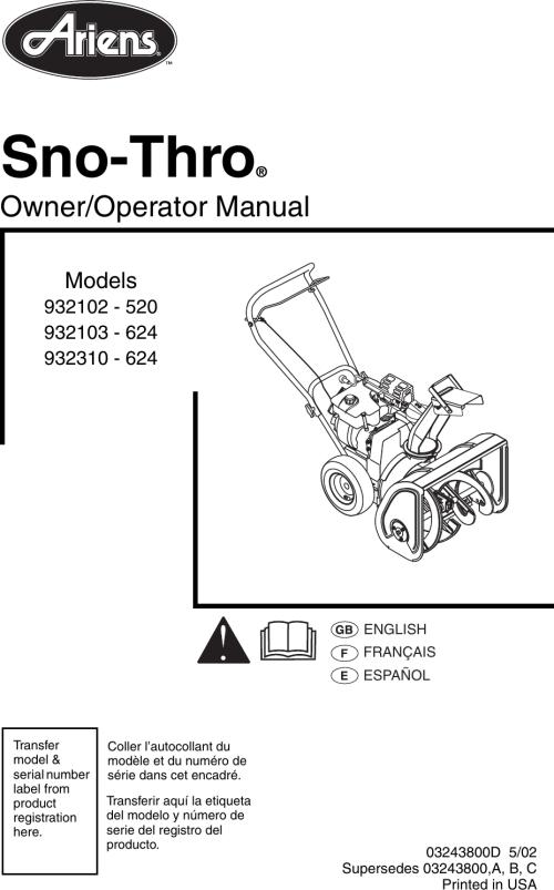 small resolution of bradhildebrand array ariens sno thro 932102 520 owners manual manualslib makes it easy to rh usermanual