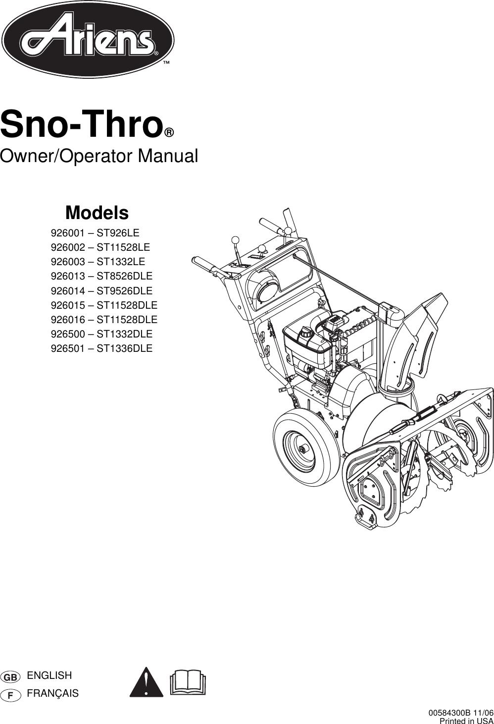 Ariens Snow Blower 926001 St926Le Users Manual Xxxxxxxx