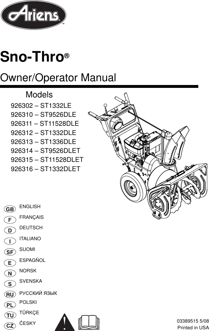Ariens Snow Blower 926302 St1332Le Users Manual 03389315
