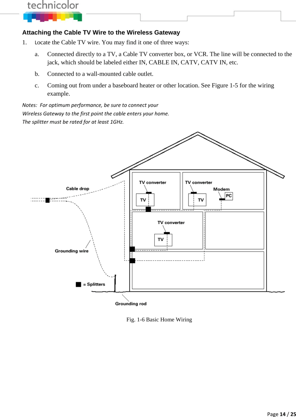 medium resolution of page 14 25 attaching the cable tv wire to the