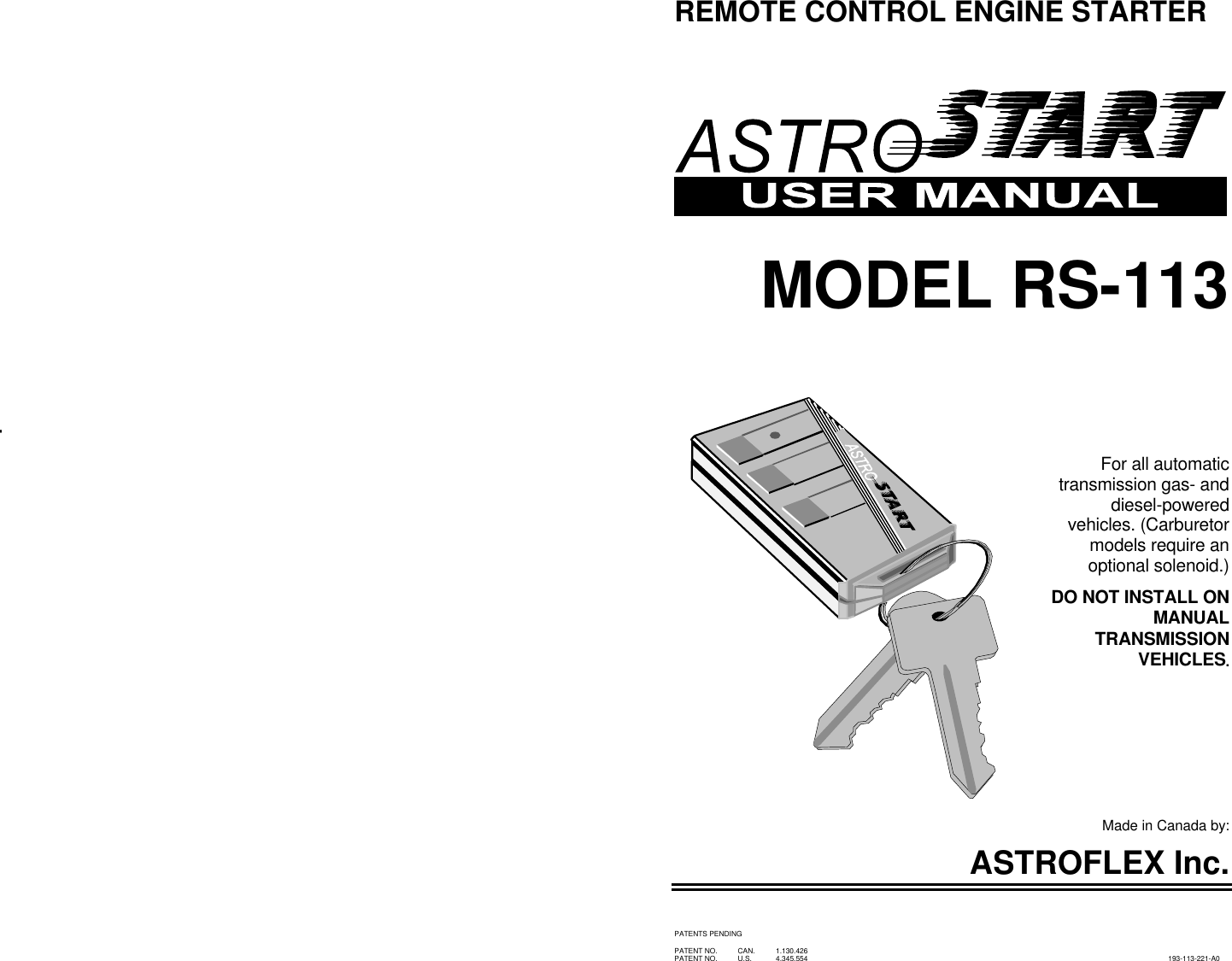 hight resolution of page 1 of 12 astrostart astrostart rs 113 users manual 193