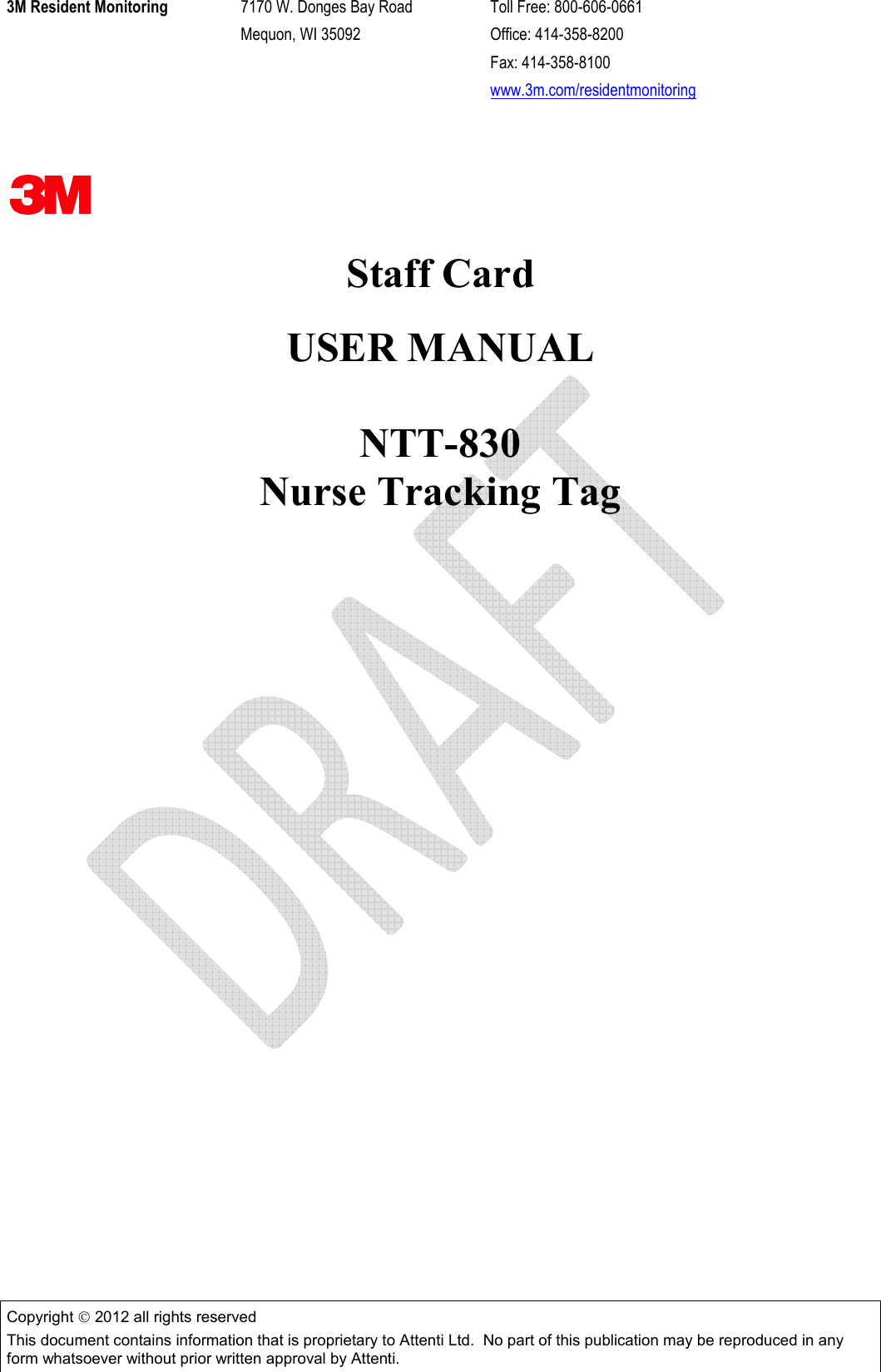 Attenti NTT-830-2 Nurse Tracking Tag User Manual Staff