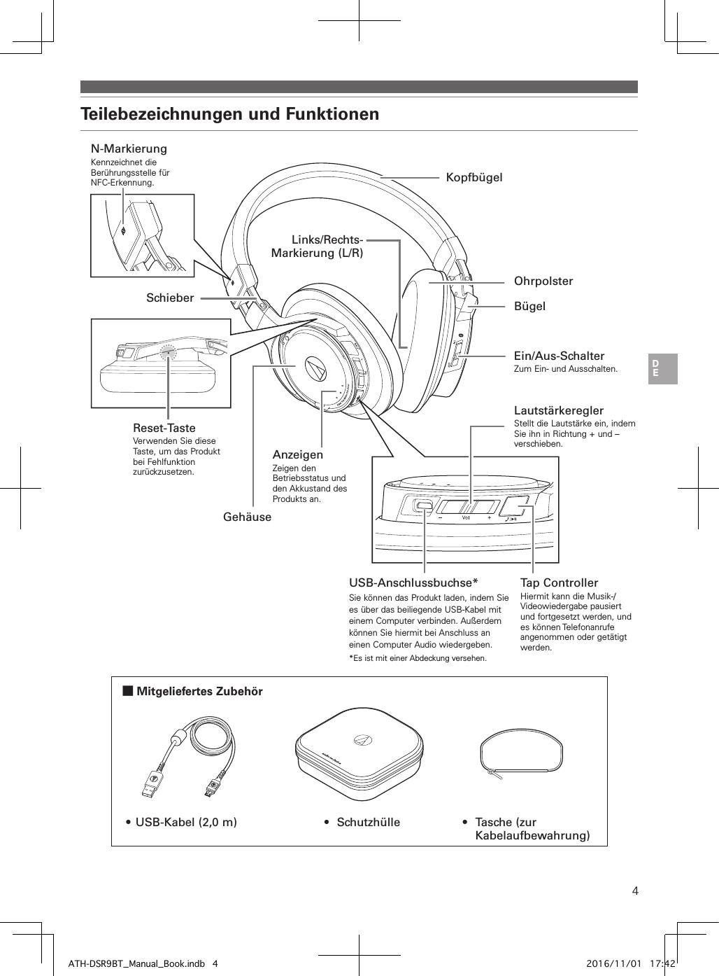 Audio Technica DSR9BT Bluetooth Headphones User Manual ATH