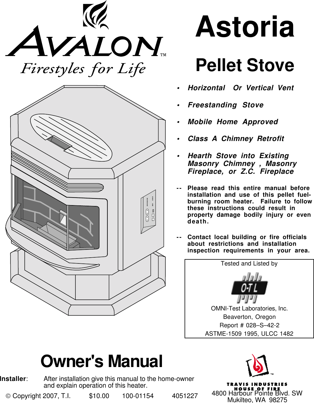 Avalon Stoves Pellet Stove Astoria Ps Users Manual