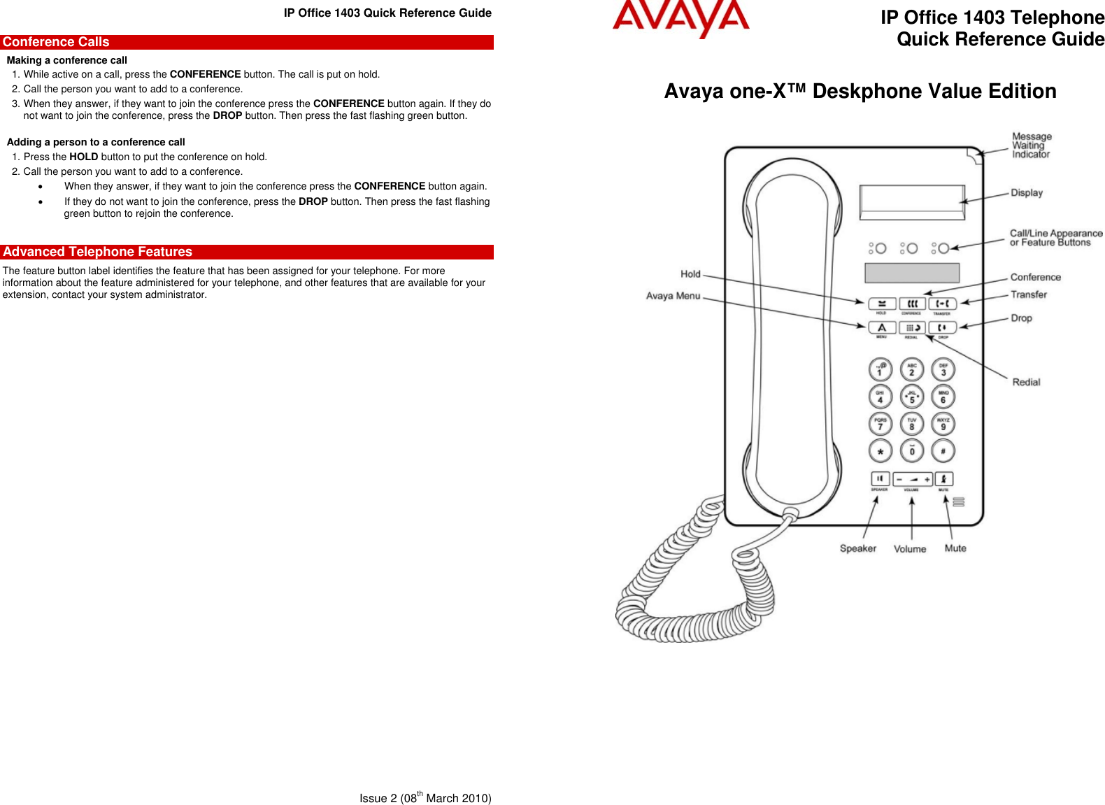 Avaya Ip Office 1403 Quick Reference Guide 1603