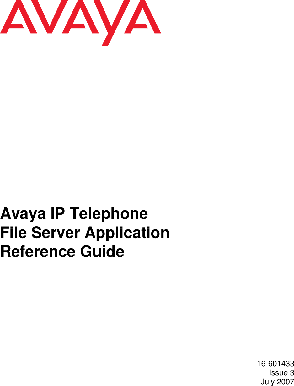 Avaya Ip Telephone File Server Application Note IPTel_Server