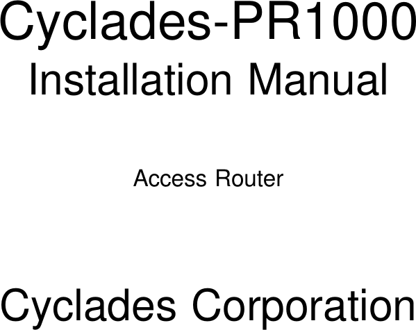 Avocent Access Router Cyclades Pr1000 Users Manual Qpr3tp02
