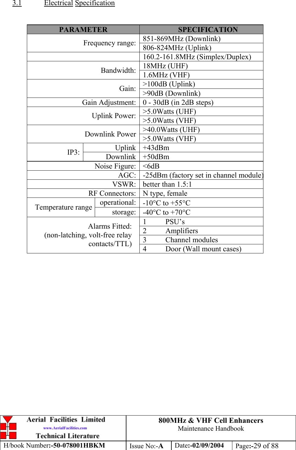 Axell Wireless 50-0780-BDA Cell Enhancer User Manual