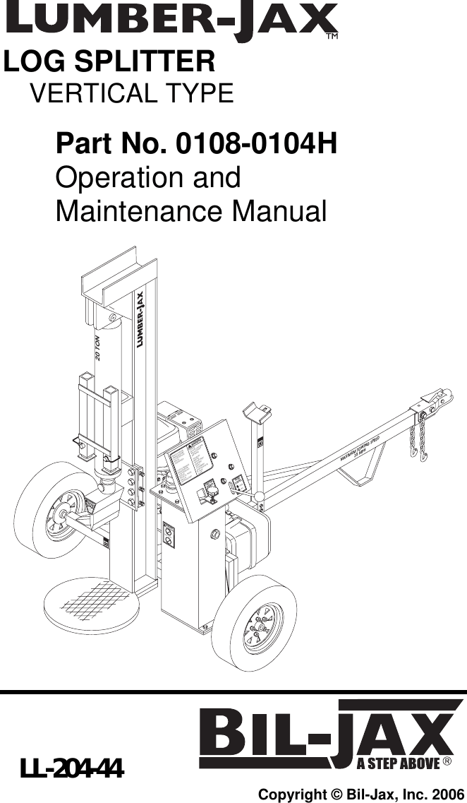 Bil Jax Log Splitter 0108 0104H Users Manual
