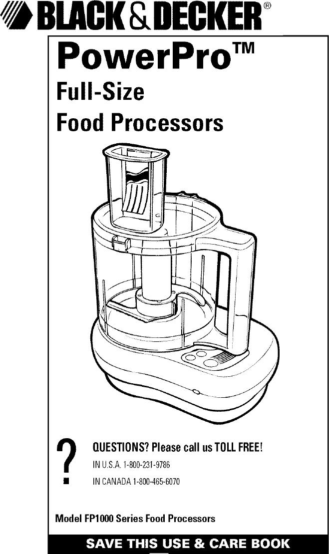 Black & Decker FP1000 User Manual FOOD PROCESSOR Manuals