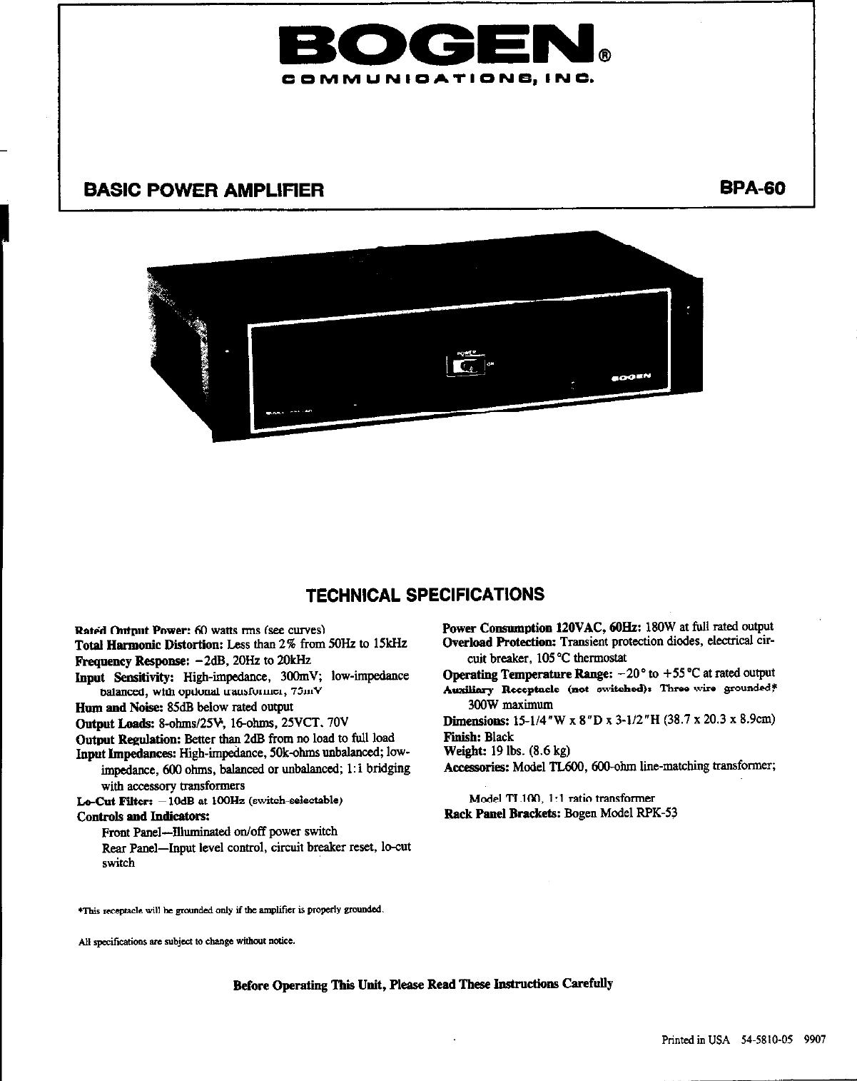 Bogen Communications Car Amplifier Bpa 60 Users Manual