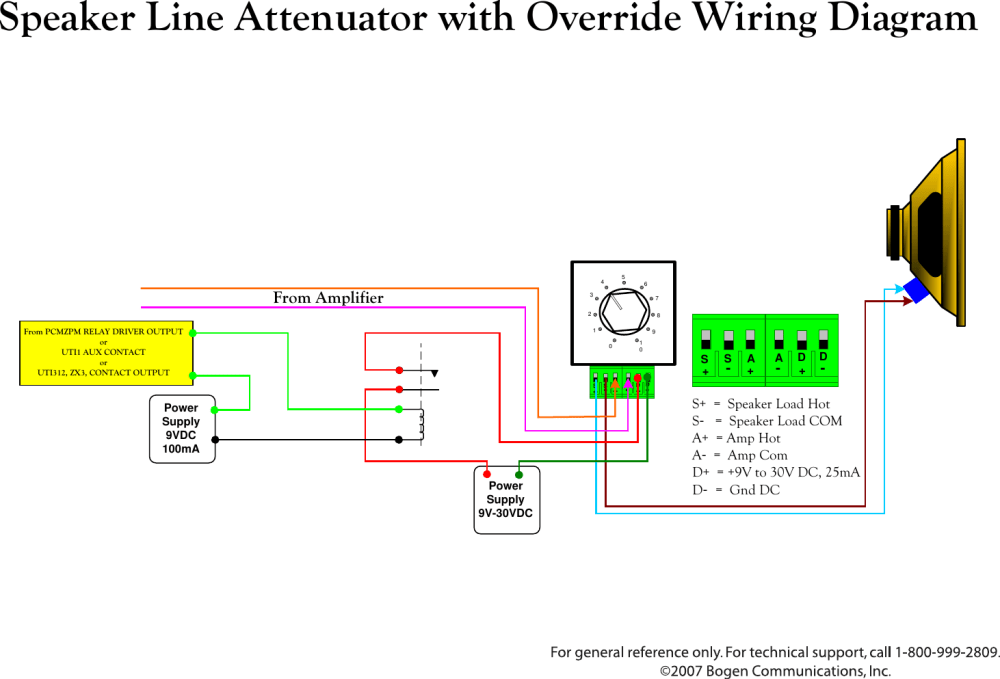 medium resolution of bogen speaker line attenuator uti1 aux users manual with override wiring diagram