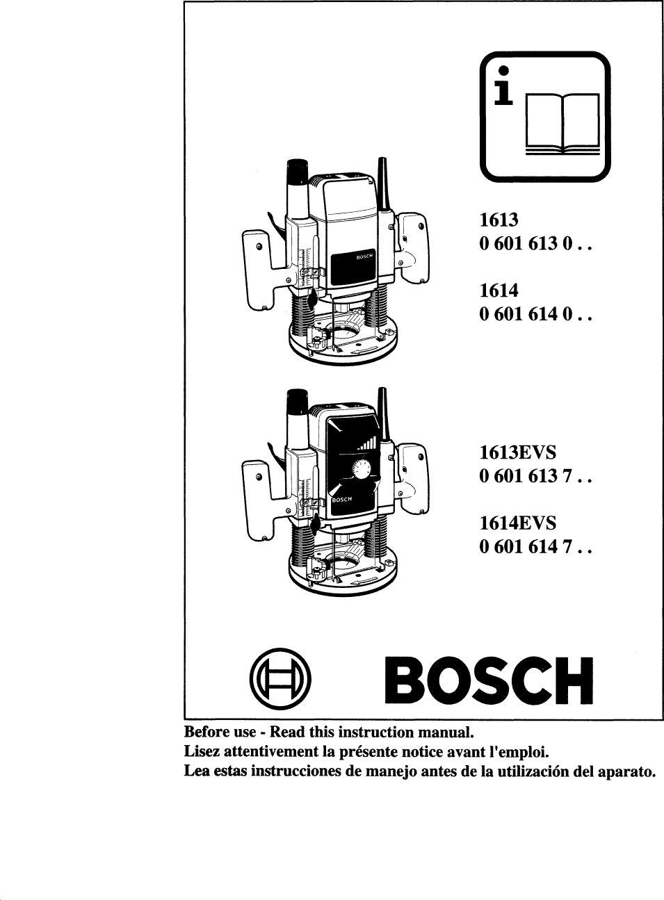 Bosch 1613EVS User Manual 2 HP PLUNGE ROUTER Manuals And