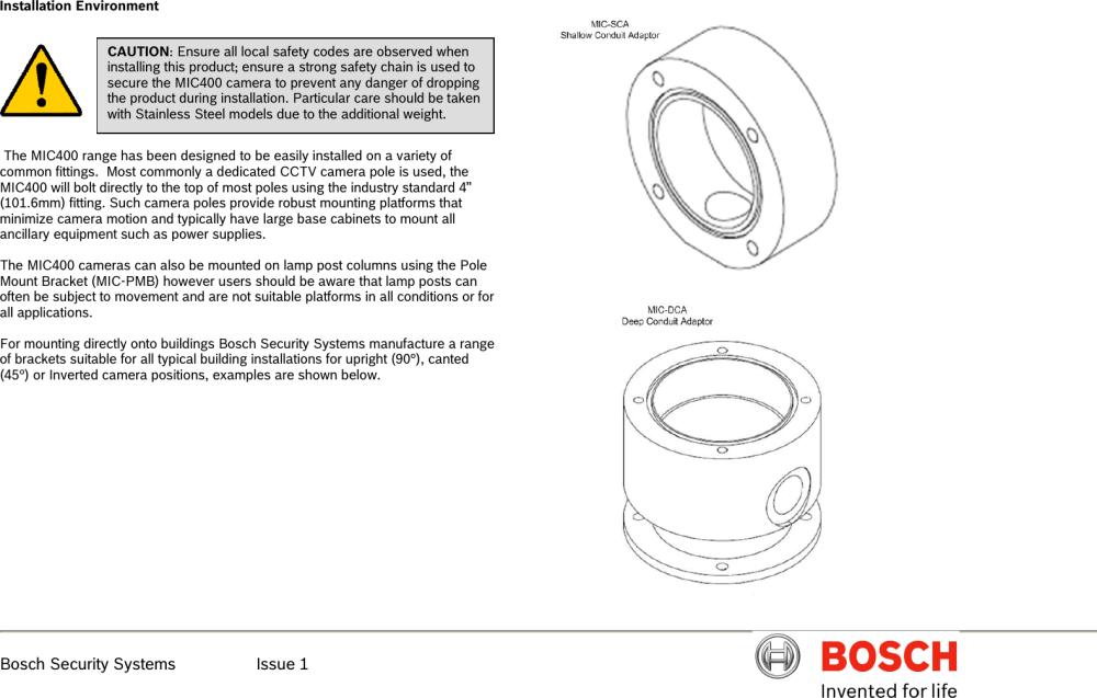 medium resolution of boschhome bosch appliances security camera mic400al users manual mic400 series ptz installation en issue 1x