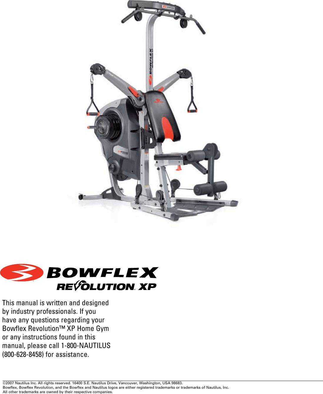 Bowflex Revolution Xp Lat Tower Owner S Manual