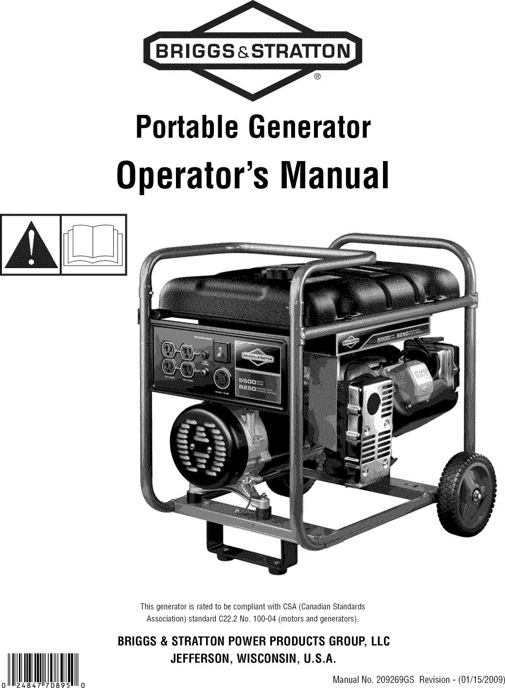 Briggs & Stratton 030439 User Manual GENERATOR Manuals And