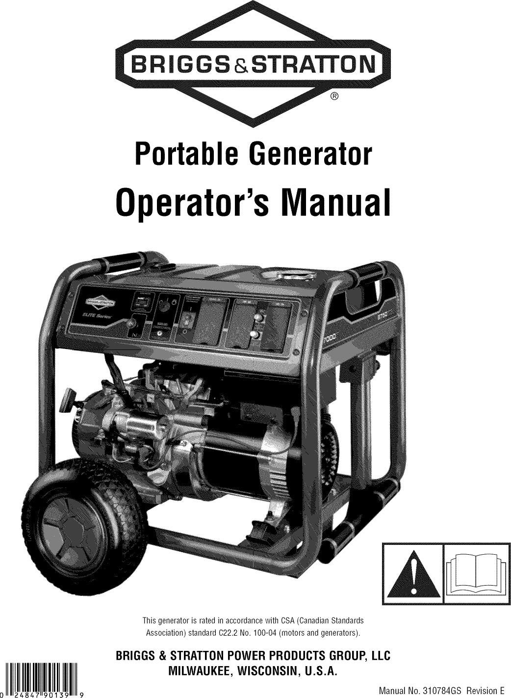 Briggs & Stratton 030470 0 User Manual GENERATOR Manuals