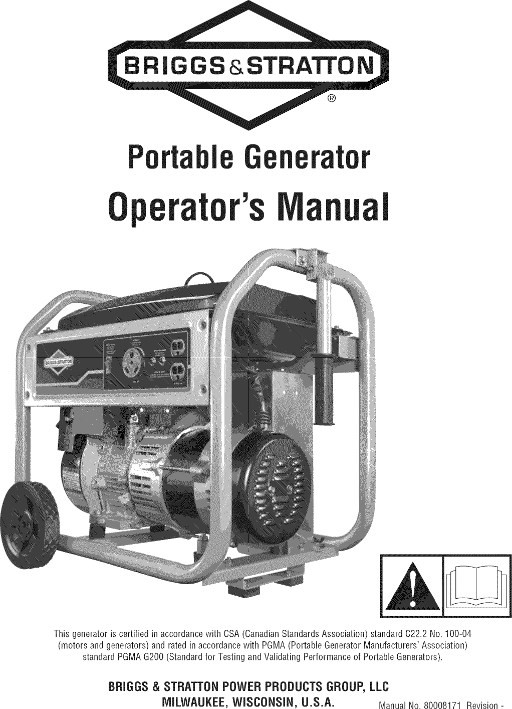 Briggs & Stratton 030547 00 User Manual GENERATOR Manuals