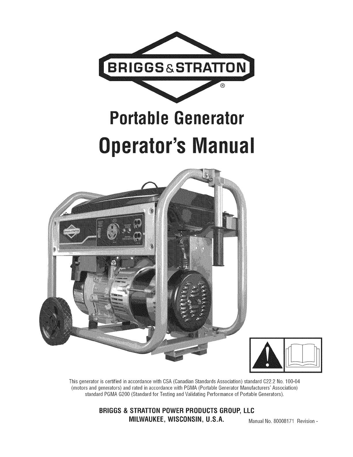 Briggs & Stratton 030547 00 User Manual GENERATOR Manuals