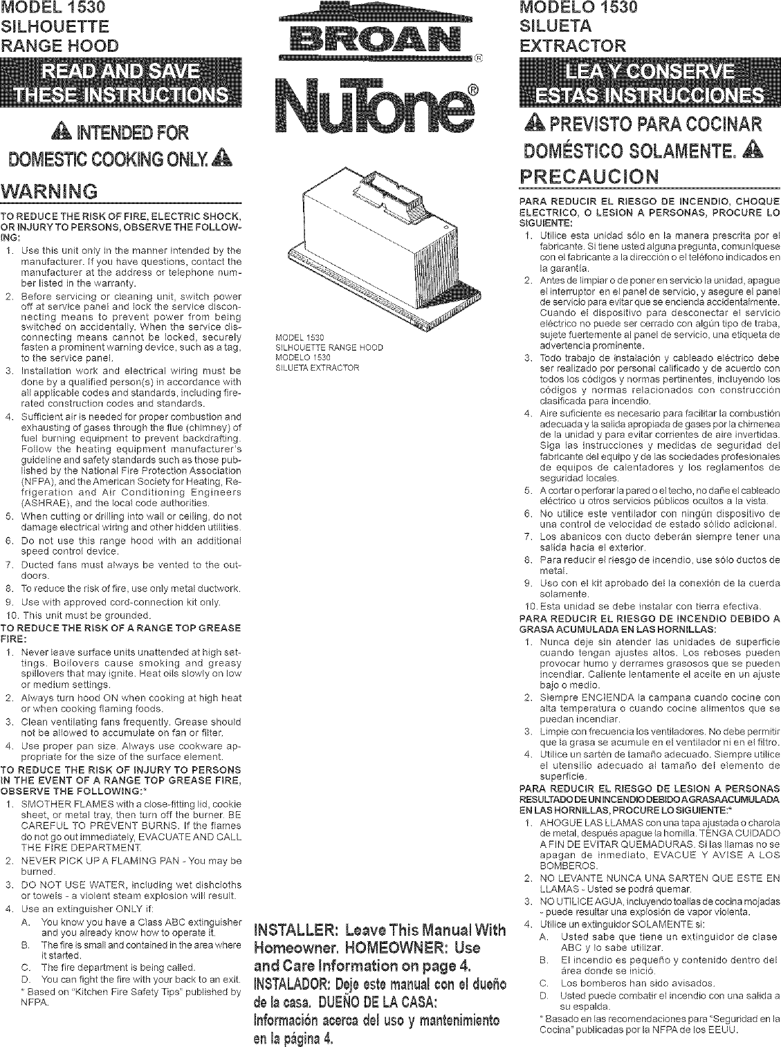 Broan 153004 User Manual RANGE HOOD Manuals And Guides
