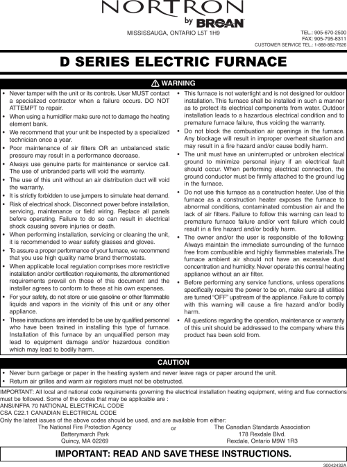 small resolution of broan furnace 30042432a users manual d series nortron electric furnaces installation 30042432a