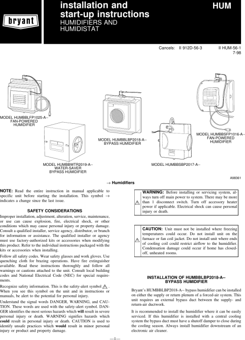 small resolution of page 1 of 12 bryant bryant hum 56 1 users