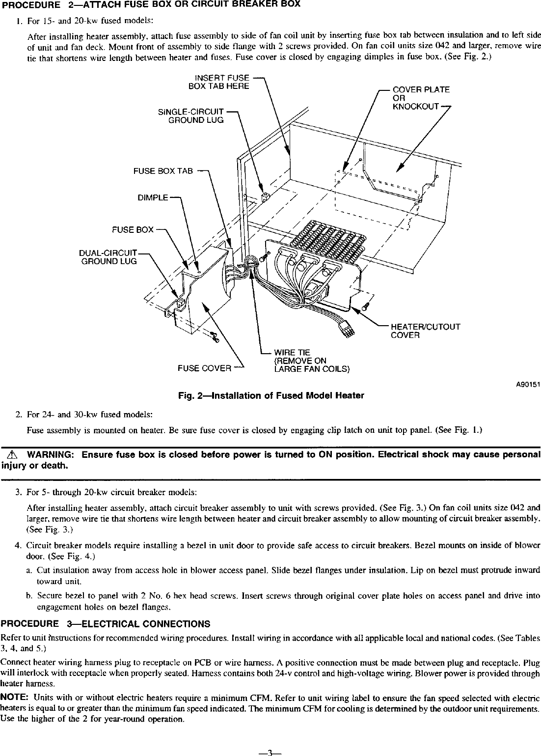 hight resolution of page 3 of 12 carrier air handler auxiliary heater kit manual l0210329