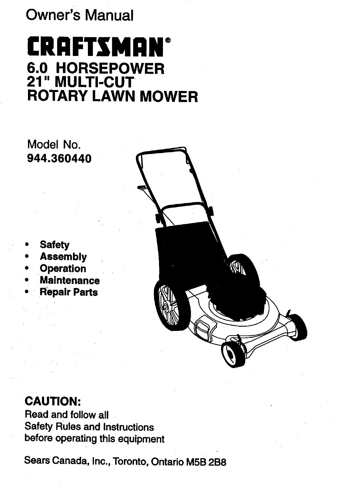 CRAFTSMAN Walk Behind Lawnmower, Gas Manual L0010003