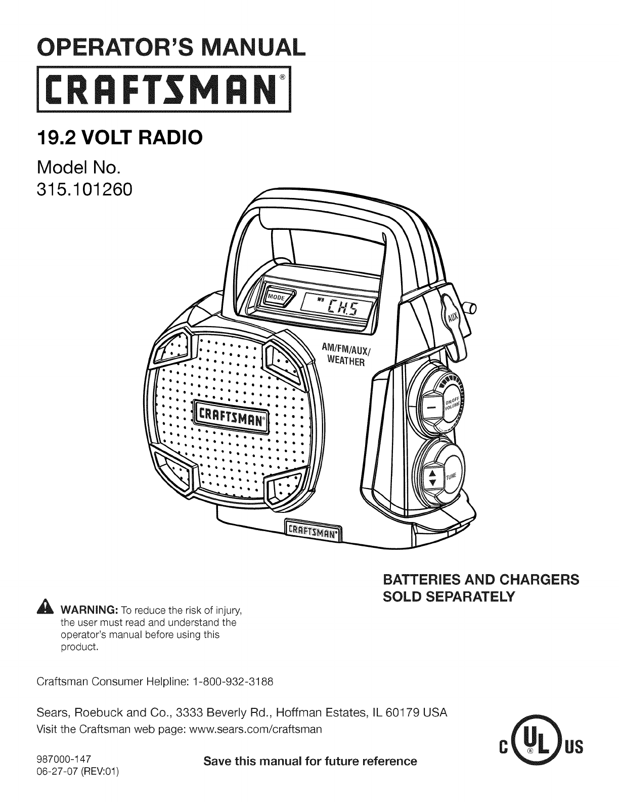 Craftsman Car Battery Charger Manual