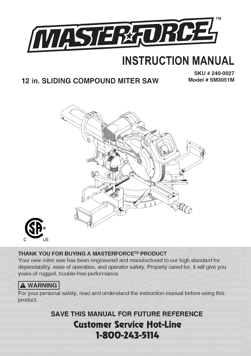CRAFTSMAN Miter Saw Manual L0909320