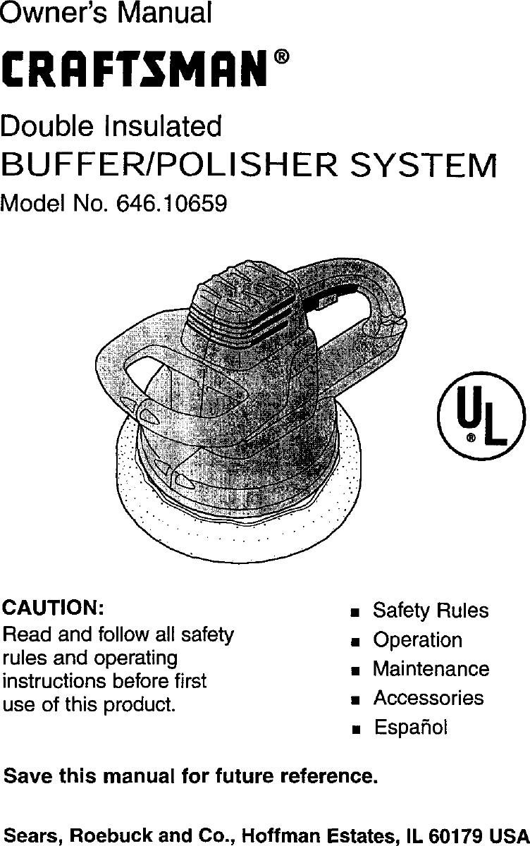 CRAFTSMAN Buffer/polisher Manual L9910255
