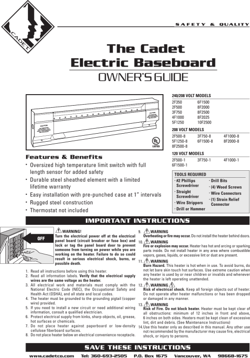 small resolution of page 1 of 12 cadet cadet 10f2500 users manual 720001