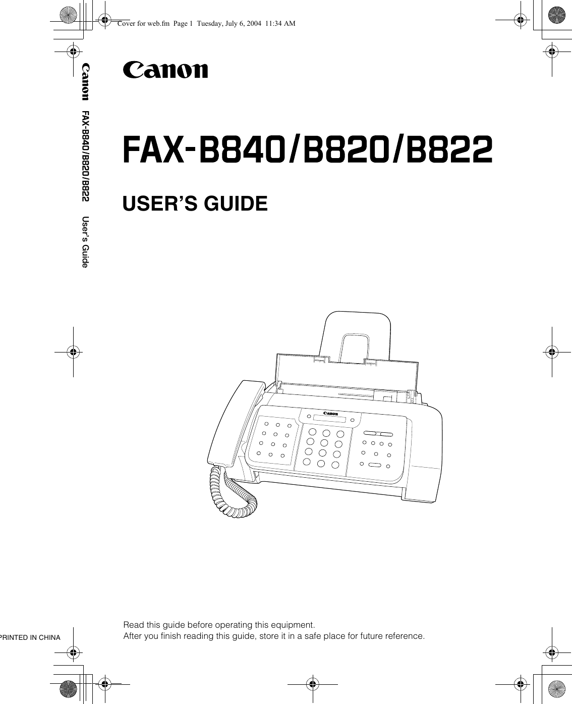 Canon B820 Users Manual FAX B840/B820/B822 Guide