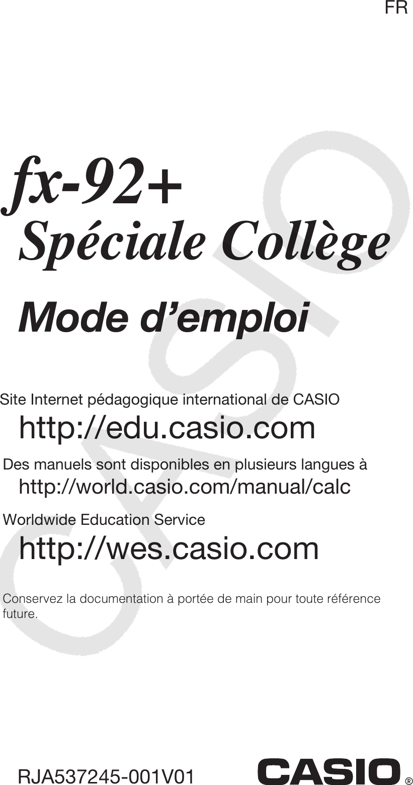 Mode Demploi Calculatrice Casio Fx 92