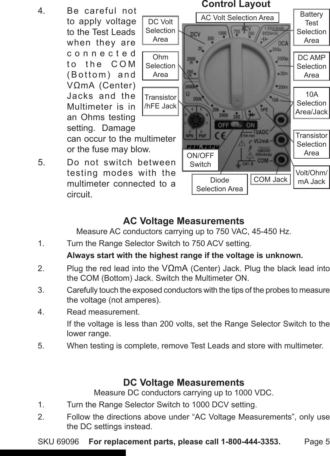 Cen Tech 69096 Operating Instructions Manual 820212