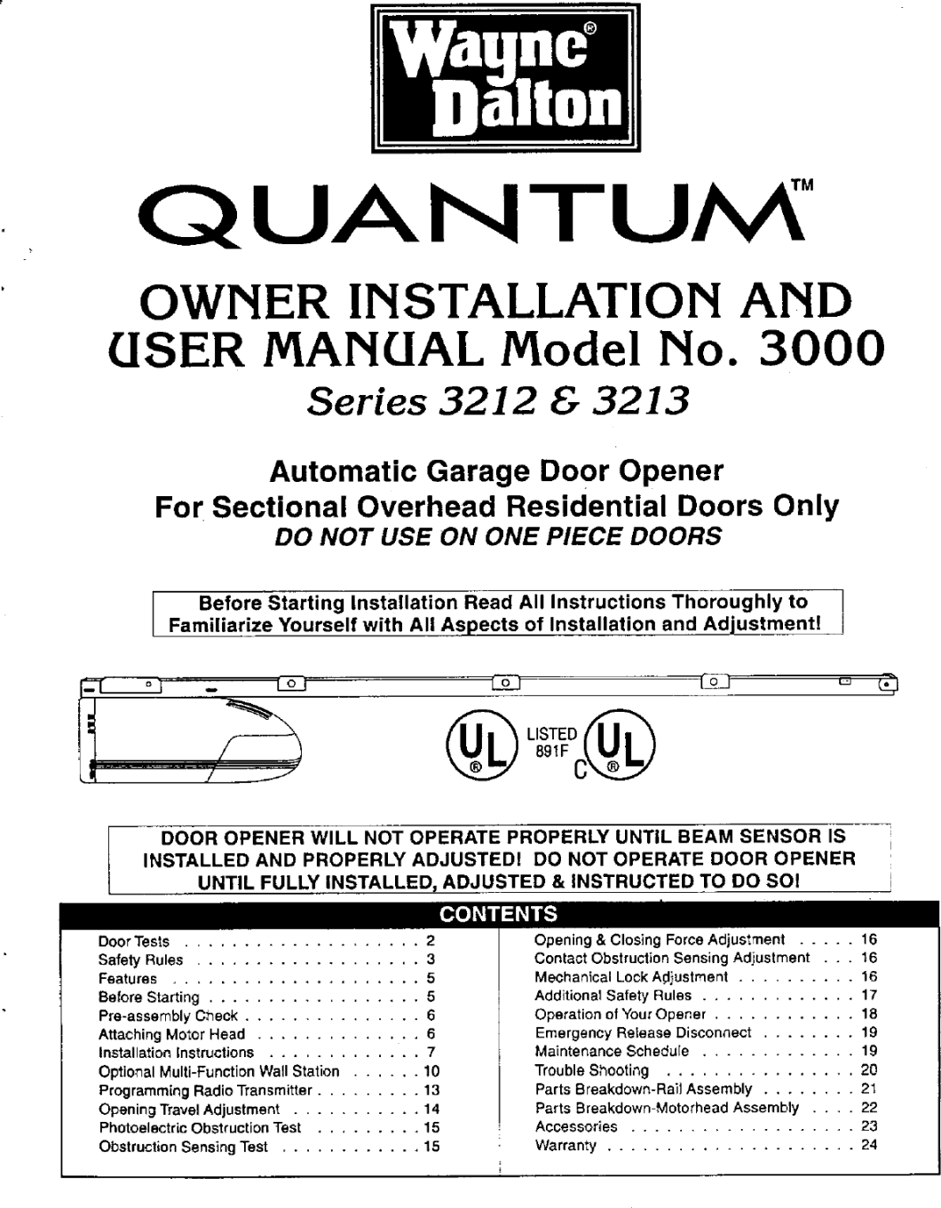 Dalton Garage Door Opener Manual