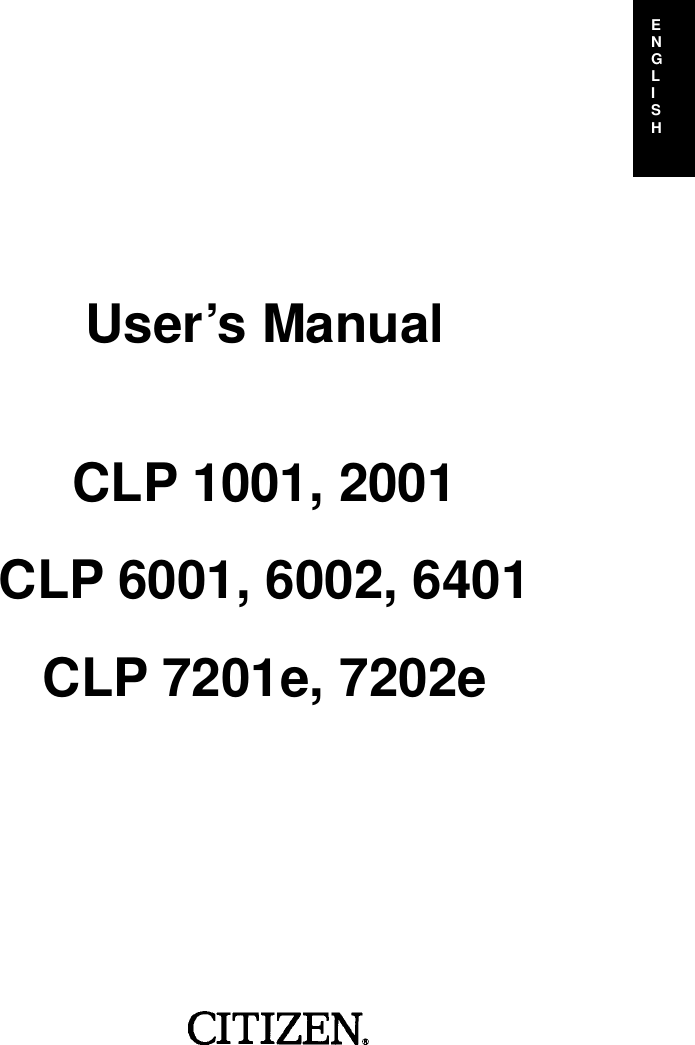 Citizen Systems Clp 1001 Cpl 2001 Users Manual