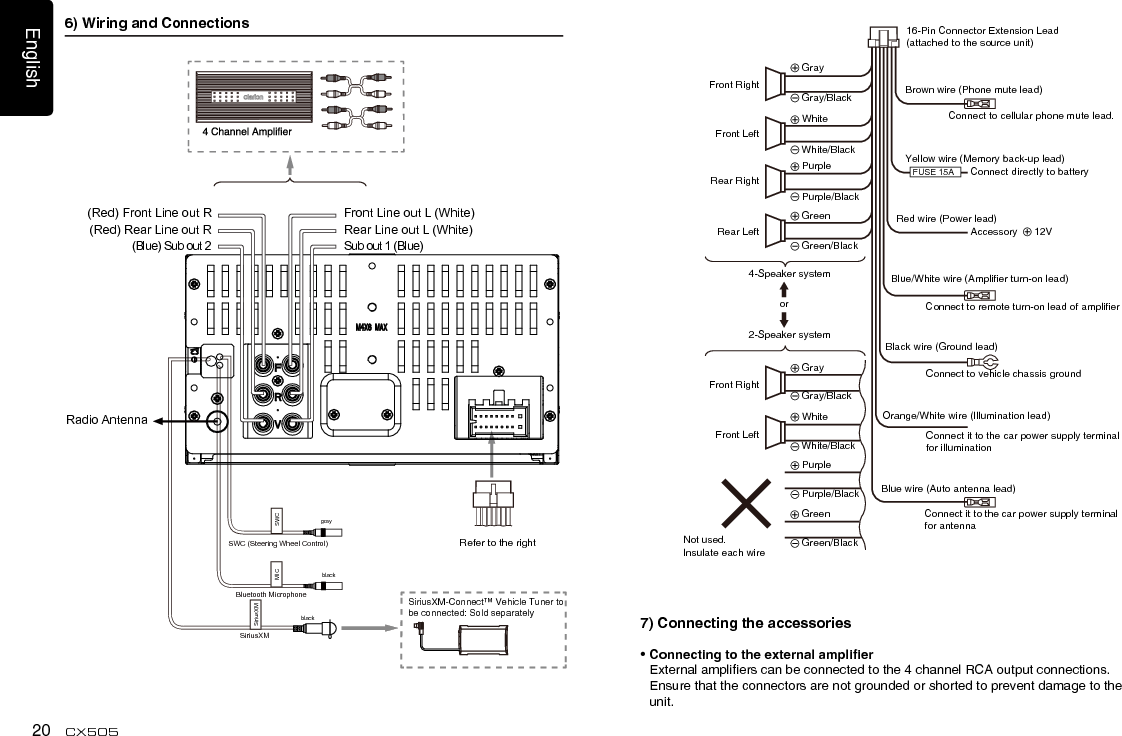 Clarion 16 Pin Wiring Diagram / Clarion Car Radio Wiring
