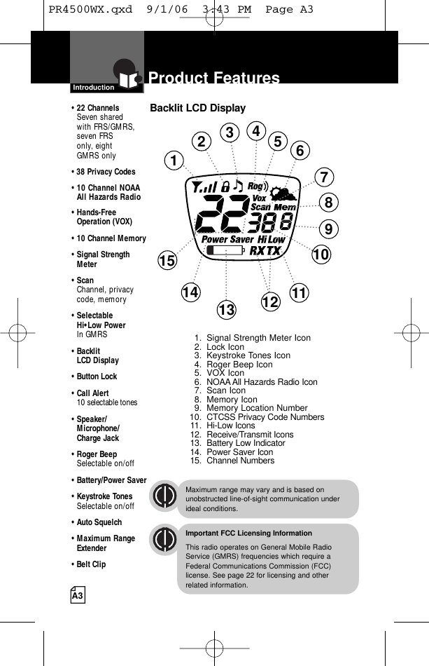 Cobra Electronics PR4100 FRS/GMRS RADIO User Manual