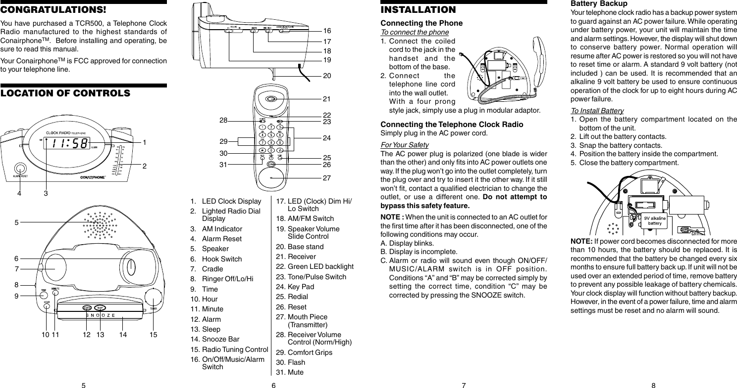 Conair Phone Tcr500 Users Manual