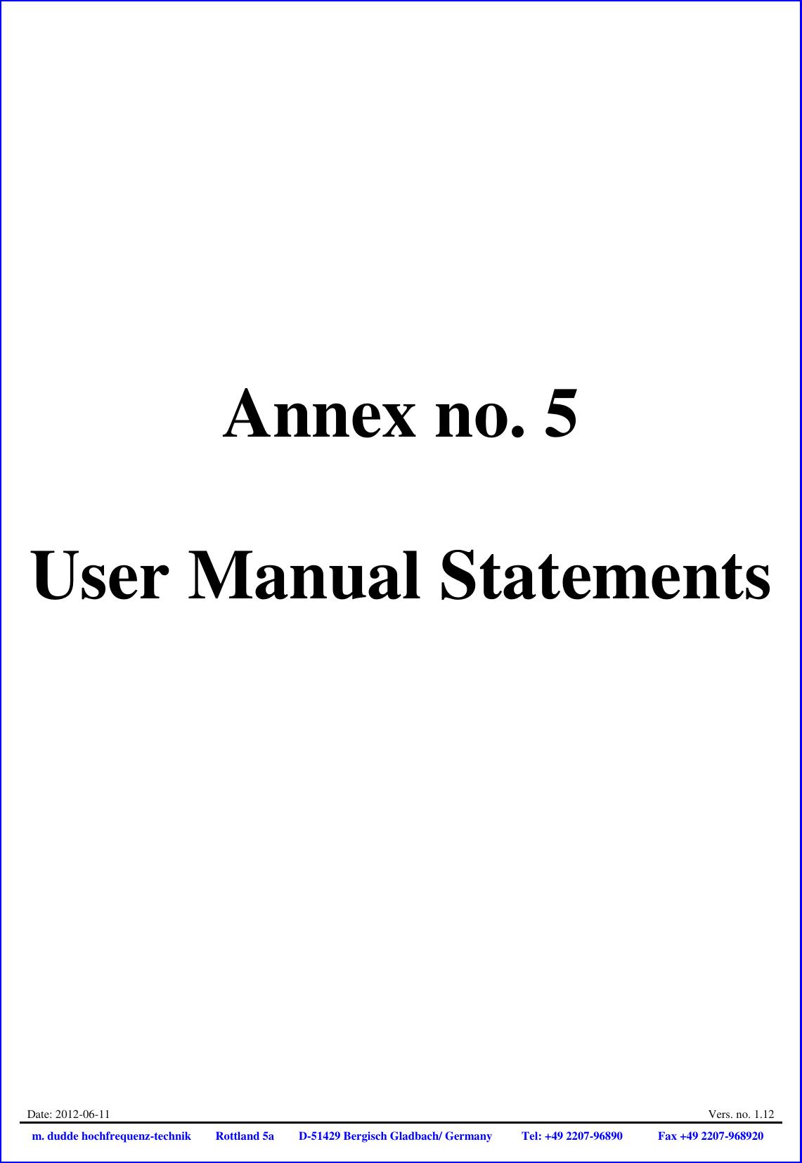 Continental Automotive V2X Transmitter User Manual Annex No