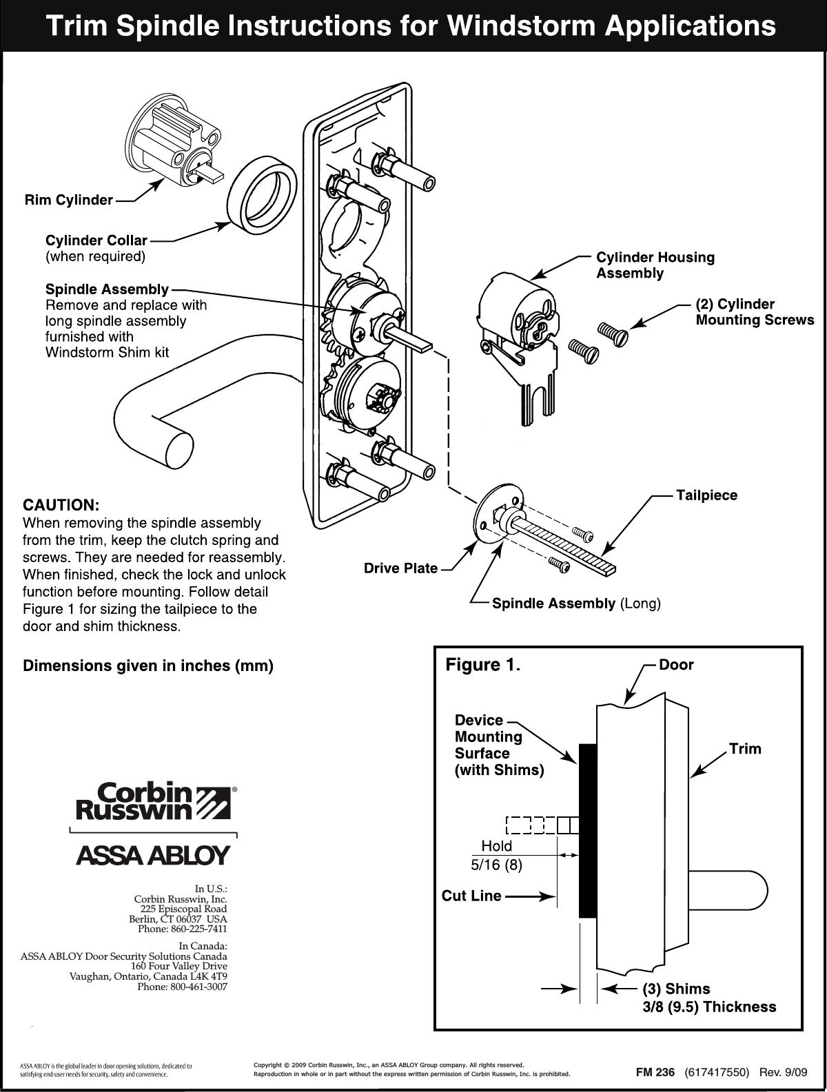 Corbin Russwin Windstorm Exit Device Shim Kits For ED5200S