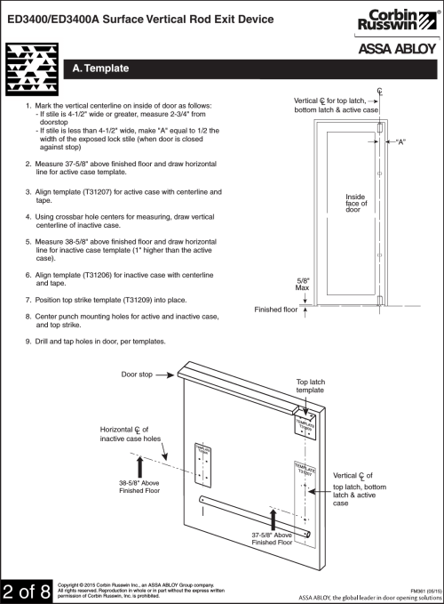 small resolution of page 2 of 8 corbin russwin ed3400 ed3400a series svr exit devices fm36105