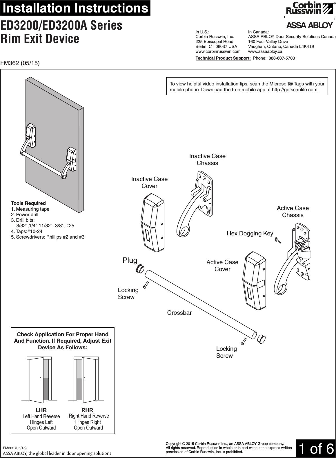 Corbin Russwin Ed Ed A Series Rim Type Exit Device
