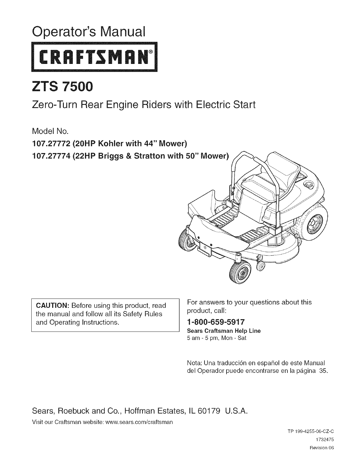 hight resolution of craftsman 107277740 user manual zero turn rear engine rider manuals and guides l0803097