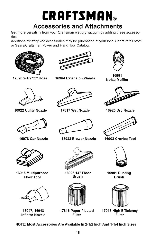 Craftsman 113170250 User Manual WET/DRY VAC W/DETACHABLE