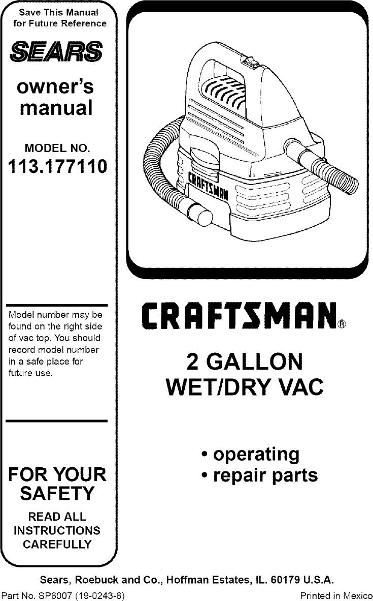 Craftsman 113177110 User Manual 2 GALLON WET/DRY VAC