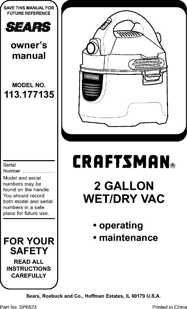 Craftsman 113177135 User Manual WET/DRY VAC Manuals And