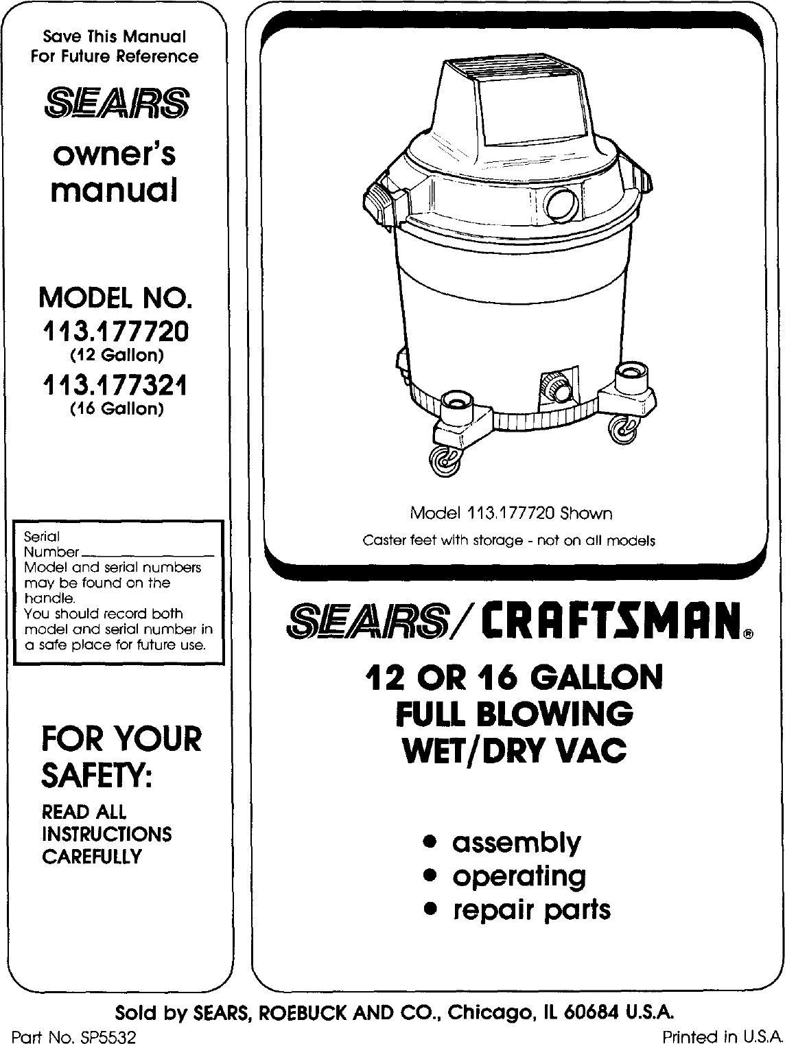 Craftsman 113177321 User Manual WET/DRY VAC Manuals And